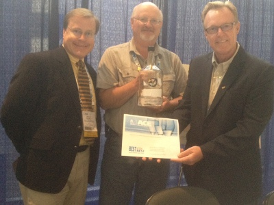 Dr. Bruce Dvorak, Rob Pierce, and Tony Bilek accept the ACE water award on Fremont's behalf