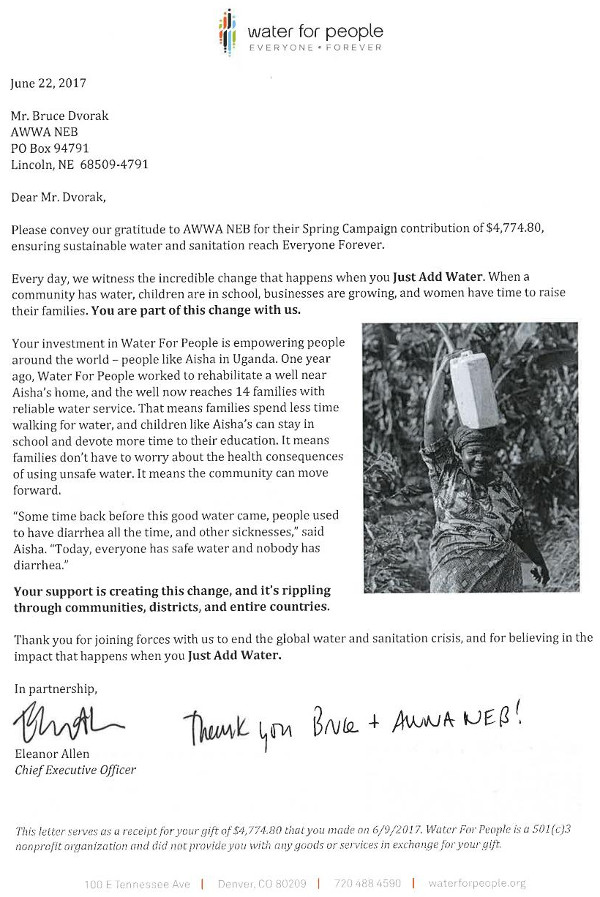 Thank-you letter from WFP