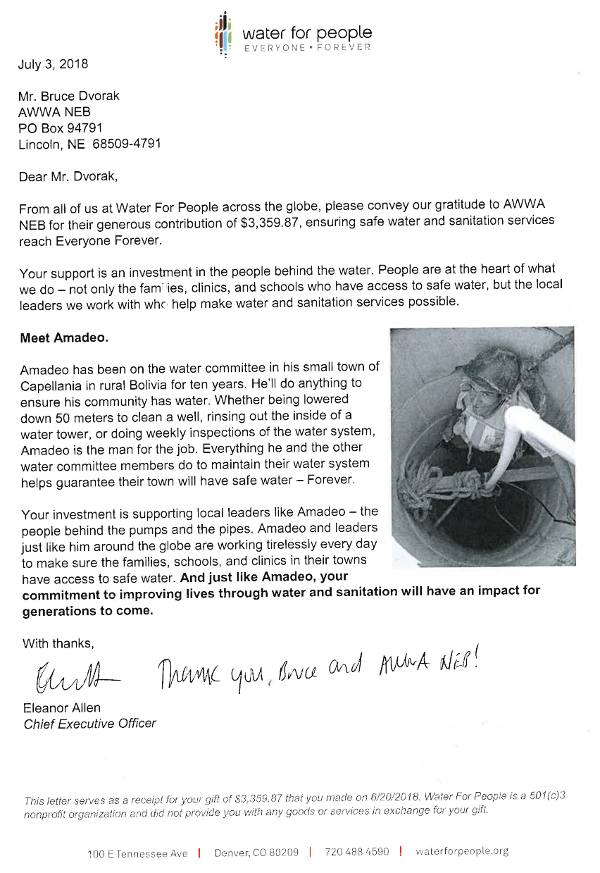 Thank-you letter from Water for People